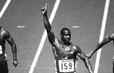 24 Sep 1988, Seoul, South Korea --- Canadian Ben Johnson waves to the sky as he wins the men's 100-meter dash at the 1988 Olympics. --- Image by © Durand; Giansanti; Perrin/Sygma/Corbis
