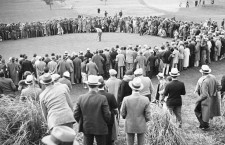 Augusta, Georgia, USA --- Original caption: At Masters' invitation golf tourney. Bobby Jones missing a putt on the 16th green during the second round of the Masters' Invitation Golf Tournament at Augusta, Georgia. Jones finished the tournament in a tie for 13th place, with a score of 294, ten strokes behind Horton Smith, the winner. --- Image by © Bettmann/CORBIS