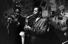 CHERRY & COLEMAN, 1959.  Don Cherry on trumpet, and Ornette Coleman on saxophone, performing the The Five Spot in New York City, 1959. Photograph by Bob Parent.