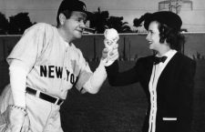 PRIDE OF THE YANKEES, Babe Ruth, Teresa Wright, on set, 1942.