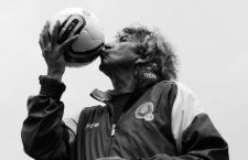 """Former El Salvador soccer player Jorge """"Magic"""" Gonzalez, 55, kisses a ball during a photo session for Reuters in San Salvador April 23, 2013. Gonzalez, who played for the El Salvador soccer team at the 1982 World Cup in Spain, was chosen by a group of 60 journalists to enter the FIFA Hall of Fame in Pachuca, Mexico, with the approval of FIFA, according to local media.  REUTERS/Ulises Rodriguez (EL SALVADOR - Tags: SPORT SOCCER)CODE: X80002"""