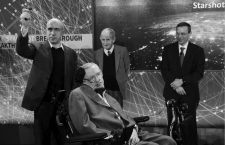 Physicist Stephen Hawking sits in front of  investor Yuri Milner (L), physicist Freeman Dyson (C), and physicist Avi Loeb on stage during an announcement of the Breakthrough Starshot initiative in New York April 12, 2016. REUTERS/Lucas JacksonCODE: X90066