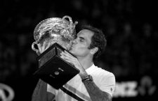 Jan 28, 2018; Melbourne, Australia; Roger Federer celebrates after defeating Marin Cilic (not pictured) in the Australian Open Final. Mandatory credit: Luttiau Nicolas/Presse Sports via USA TODAY NETWORK  *** Local Caption *** 22148093