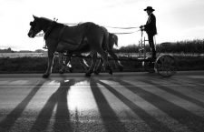 An Amish man rides his cart down Mine Rd to a funeral ceremony for victims of the Amish school shootings in Nickel Mines, Pennsylvania, October 5, 2006. The Amish community prepared for the funerals of the victims of Monday's schoolhouse shooting in Nickel Mines.        REUTERS/Jason Reed    (UNITED STATES)