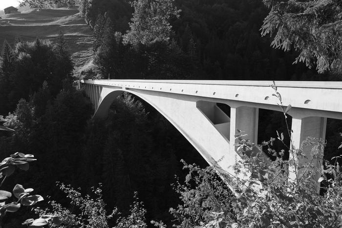 El puente de Salginatobel vuela sobre el barranco de Salgina
