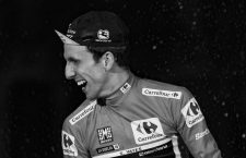 September 16, 2018 - Madrid, Spain - Mitchelton-Scott's British cyclist Simon Philip Yates celebrates on the podium after winning the 73rd edition of 'La Vuelta' Tour of Spain cycling race in Madrid on September 16, 2018. - Simon Yates stepped out of the shadows of British cycling giants Sky to secure his maiden Grand Tour triumph at the Tour of Spain for his Mitchelton team. (Credit Image: © Oscar Gonzalez/NurPhoto/ZUMA Press)