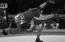 JAKARTA, Aug. 31, 2018  Islom Akhmedjanov of Uzbekistan (Bottom) competes during the Sambo Men's -52kg bronze medal match against Beimbet Kanzhanov of Kazakhstan at the 18th Asian Games in Jakarta, Indonesia, Aug. 31, 2018. (Credit Image: © Pan Yulong/Xinhua via ZUMA Wire)