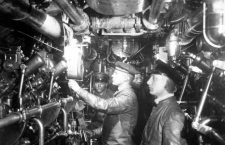 Engine room of an oil-burning German submarine. World War I. Ca. 1914-18. Engine room of an oil-burning German submarine. World War I. Ca. 1914-18.