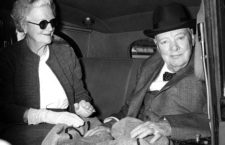 Sir Winston and Lady Churchill at London Airport for a Mediterranean cruise