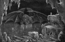 Satanás atrapado en la zona central de hielo del Noveno Círculo. Ilustración de Gustave Doré para La divina comedia de Dante.