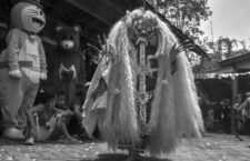 October 24, 2020, Malang, east java, Indonesia: Residents saw a traditional dance (rangda dance from bali)  performance as part of a traditional and cultural event to express gratitude to God for the end of the Covid-19 outbreak at the village level and the opening of tourist attractions in Tlogowaru village, Malang, east java, Indonesia, on October 24, 2020. Indonesia is a country with diverse cultures, ethnicities, and religions that are united in one nation. The Indonesian government is trying to suppress the increase in positive cases of Covid-19 to reach 385,950 people, the recovery status reached 309,219 people and the recovered status reached 13,209 people on October 24. (Credit Image: © Aman Rochman/ZUMA Wire)
